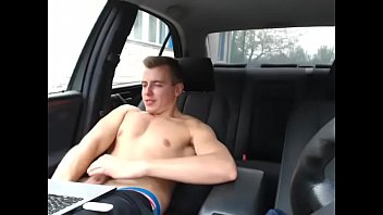 Young Male Cammer Wanking In His Car